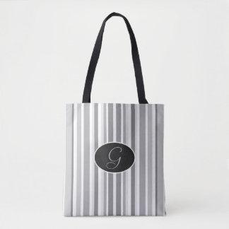 Bolsa Tote Sacola preta listrada do cinza e a branca do