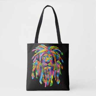 Bolsa Tote Sacola preto e branco de Rasta Dreadlocks do leão