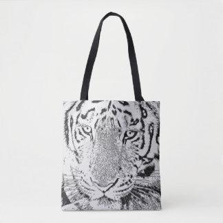 Bolsa Tote Sacola preto e branco do tigre