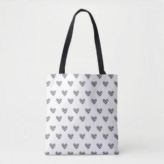 Bolsa Tote Sacola preto e branco listrada dos corações