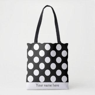 Bolsa Tote Sacola preto e branco personalizada das bolinhas