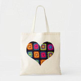 Bolsa Tote Sacola quadrada da avó - sacola do Crochet