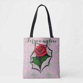 Bolsa Tote Sacola rasgada da rosa vermelha da arte em virtude