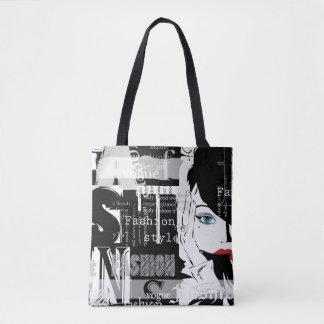 Bolsa Tote Sacola retro do impressão da forma toda sobre -