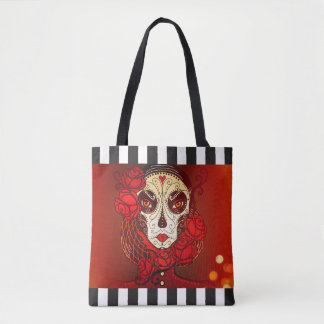 Bolsa Tote Sacola reusável da listra do calavera do crânio do