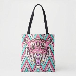 Bolsa Tote sacola reusável da viga cor-de-rosa do tigre