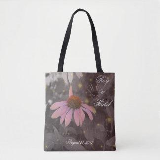Bolsa Tote Sacola romântica cor-de-rosa da flor da margarida