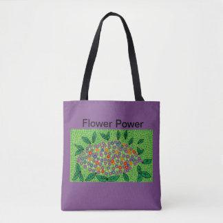 Bolsa Tote sacola roxa com design floral