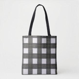 Bolsa Tote sacola rústica do país branco preto da xadrez