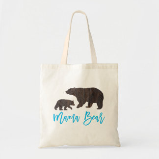 Bolsa Tote Sacola rústica do urso da mamã e do bebê