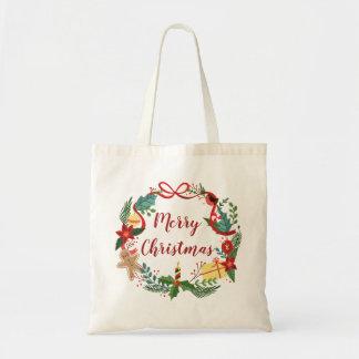 Bolsa Tote Sacola simples da grinalda | do Feliz Natal