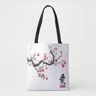 Bolsa Tote Sacola simples & elegante do amor | da flor de