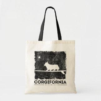 Bolsa Tote Sacola surfando do Corgi bonito de Califórnia