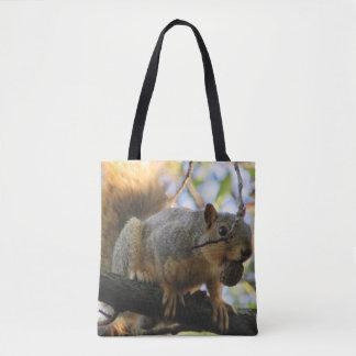 Bolsa Tote Sacola tomada partido dobro bonito do esquilo