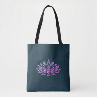 Bolsa Tote Sacola tranquilo da flor de Lotus da cerceta & do