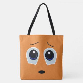 Bolsa Tote Sacola triste adorável do design da cara