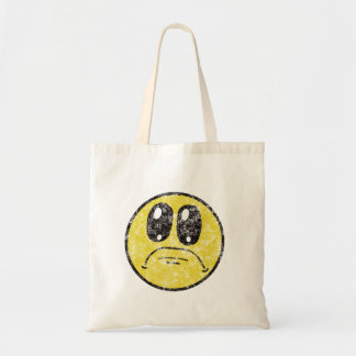 Bolsa Tote Sacola triste dos desenhos animados do smiley face