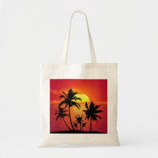 Bolsa Tote Sacola tropical bonita da palma do por do sol