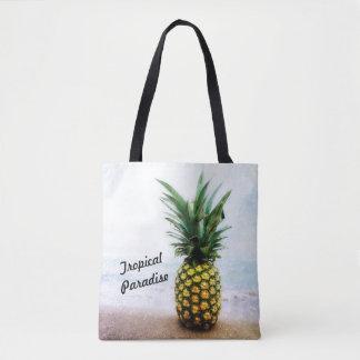 Bolsa Tote Sacola tropical do design do abacaxi do paraíso