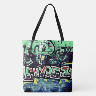 Bolsa Tote sacola urbana do verde da parede dos grafites