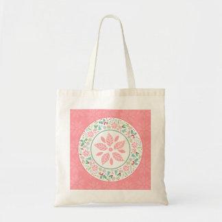 Bolsa Tote Sacola verde cor-de-rosa festiva da colagem da