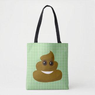 Bolsa Tote Sacola verde do tombadilho de Emoji da xadrez