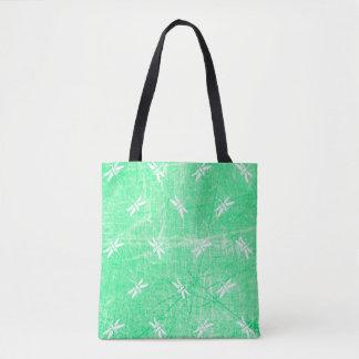 Bolsa Tote Sacola verde e branca da libélula Monogrammed