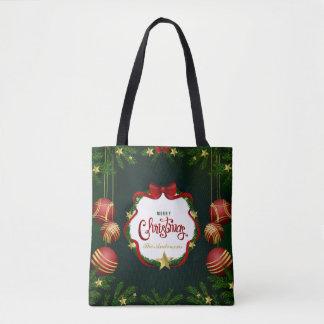 Bolsa Tote Sacola verde personalizada do Feliz Natal  