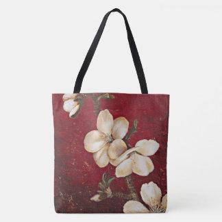 Bolsa Tote Sacola vermelha da flor da amêndoa