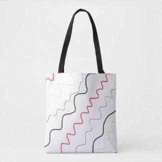 Bolsa Tote Sacola vermelha, preto e branco da arte dos