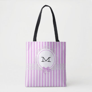 Bolsa Tote Sacola violeta da listra do monograma para o dia