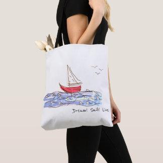 Bolsa Tote Sacola viva do esboço das gaivotas do barco de mar