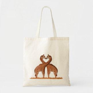 Bolsa Tote Sacolas do amor dos girafas