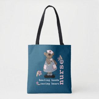 Bolsa Tote Sacolas engraçadas do design da enfermeira do urso