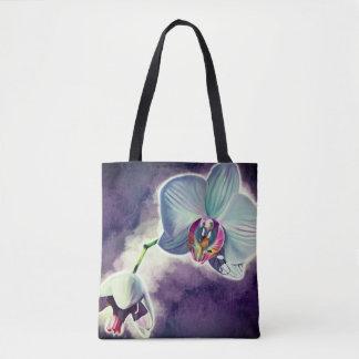 Bolsa Tote Sacolas roxas do design da orquídea