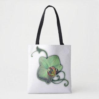 Bolsa Tote Sacolas verdes da orquídea do design
