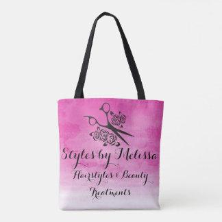 Bolsa Tote Salão de beleza cor-de-rosa do costume dos rosas