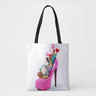 Bolsa Tote Salto alto cor-de-rosa & Cosemetic