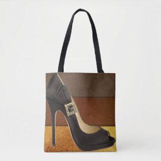 Bolsa Tote Salto alto preto com cores marrons do ouro
