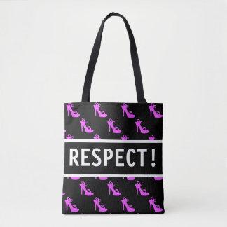 Bolsa Tote Saltos cor-de-rosa do respeito