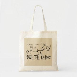 Bolsa Tote Salvar a sacola do rinoceronte