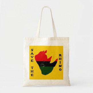 Bolsa Tote Salvar o rinoceronte com amarelo do rasgo de