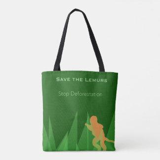 Bolsa Tote Salvar os Lemurs