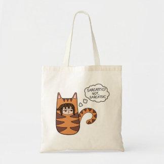 """Bolsa Tote """"Sarcástico? Não, Sarcatsic"""" com máximo, um gato"""