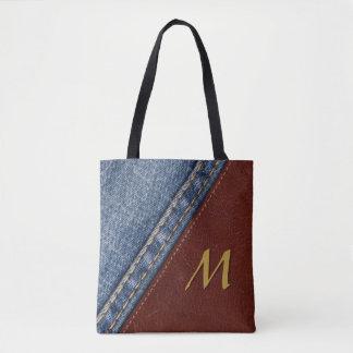 Bolsa Tote Sarja de Nimes e couro do monograma do vintage