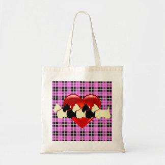 Bolsa Tote Scottish coração preto/branco de Terrier da