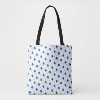 Bolsa Tote Scribble azul bonito da flor