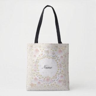 Bolsa Tote Seashells e pérolas personalizados