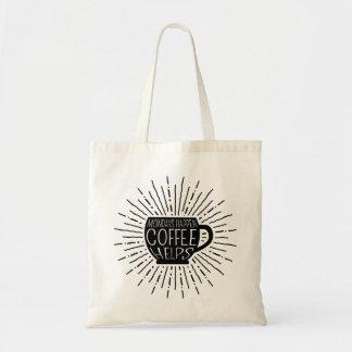 Bolsa Tote Segundas-feiras acontecem; O café ajuda a sacola