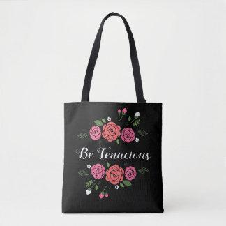 Bolsa Tote Seja sacola cor-de-rosa e coral tenaz dos rosas
